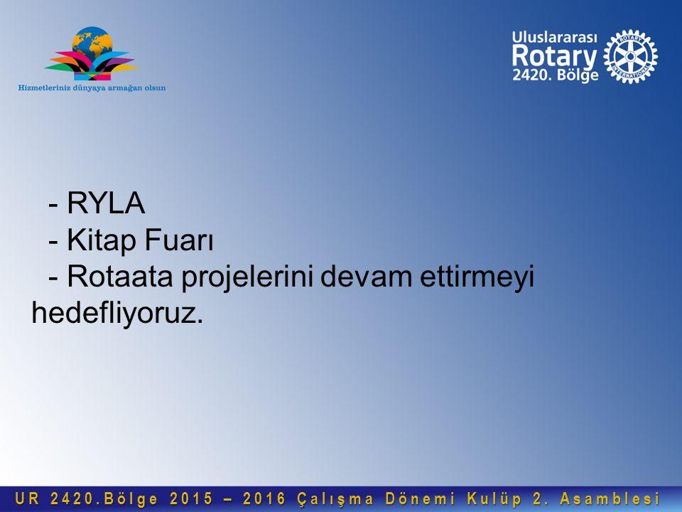 - RYLA - Kitap Fuarı - Rotaata projelerini devam ettirmeyi hedefliyoruz. UR 2420.Bölge 2015 – 2016 Çalışma Dönemi Kulüp 2. Asamblesi UR 2420.Bölge 201
