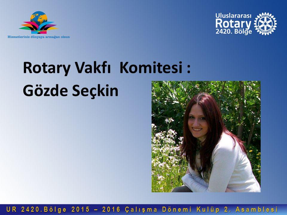 Rotary Vakfı Komitesi : Gözde Seçkin UR 2420.Bölge 2015 – 2016 Çalışma Dönemi Kulüp 2. Asamblesi UR 2420.Bölge 2015 – 2016 Çalışma Dönemi Kulüp 2. Asa