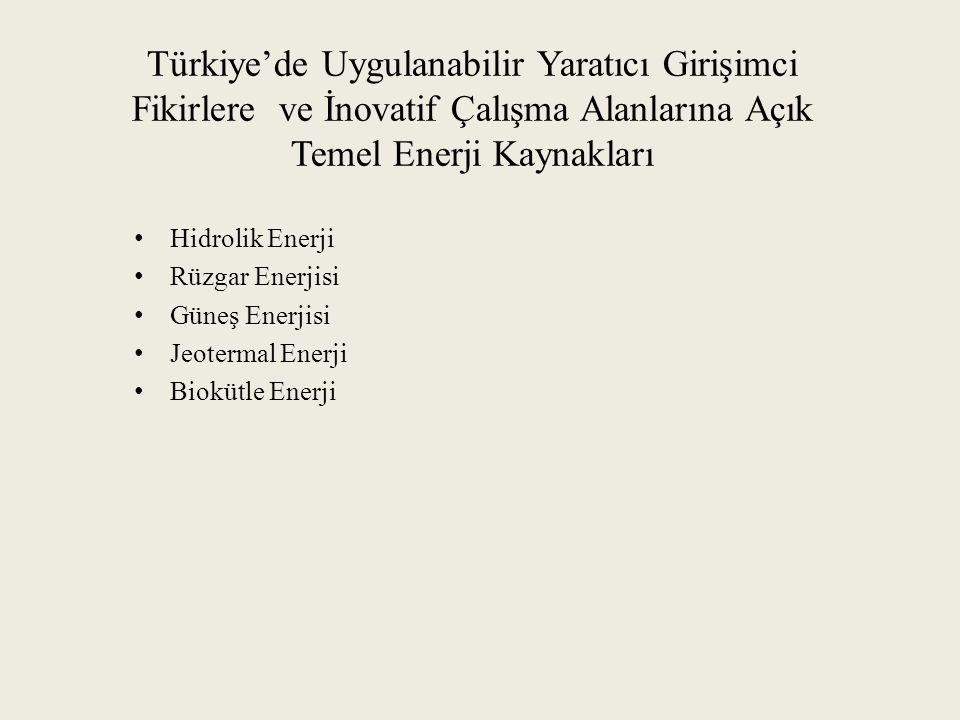 Türkiye'de Uygulanabilir Yaratıcı Girişimci Fikirlere ve İnovatif Çalışma Alanlarına Açık Temel Enerji Kaynakları Hidrolik Enerji Rüzgar Enerjisi Güneş Enerjisi Jeotermal Enerji Biokütle Enerji