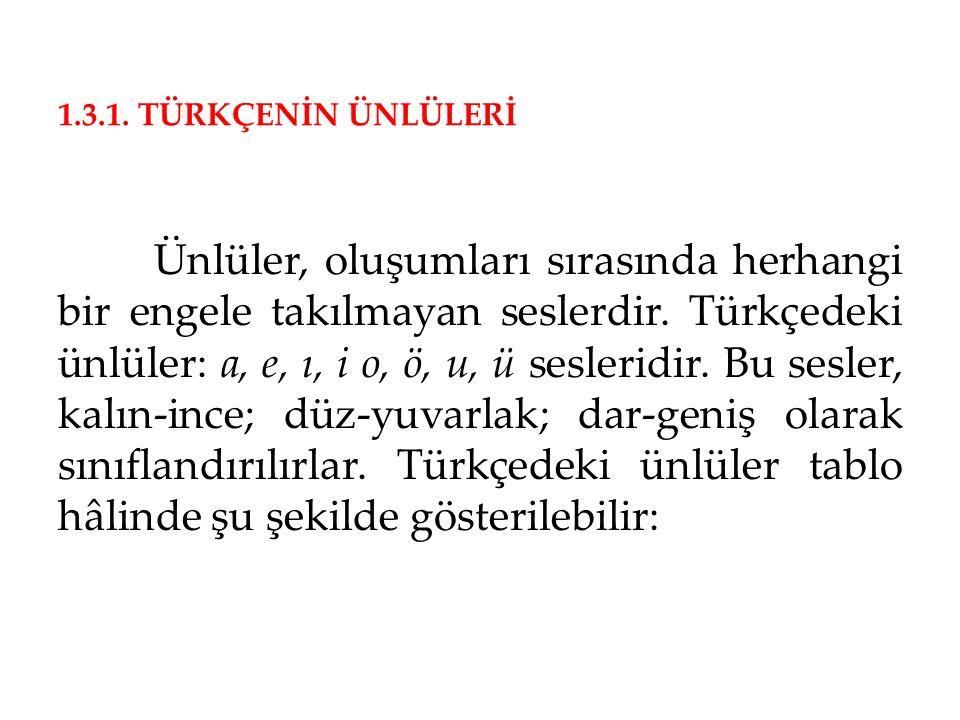 1.3.1. TÜRKÇENİN ÜNLÜLERİ Ünlüler, oluşumları sırasında herhangi bir engele takılmayan seslerdir. Türkçedeki ünlüler: a, e, ı, i o, ö, u, ü sesleridir