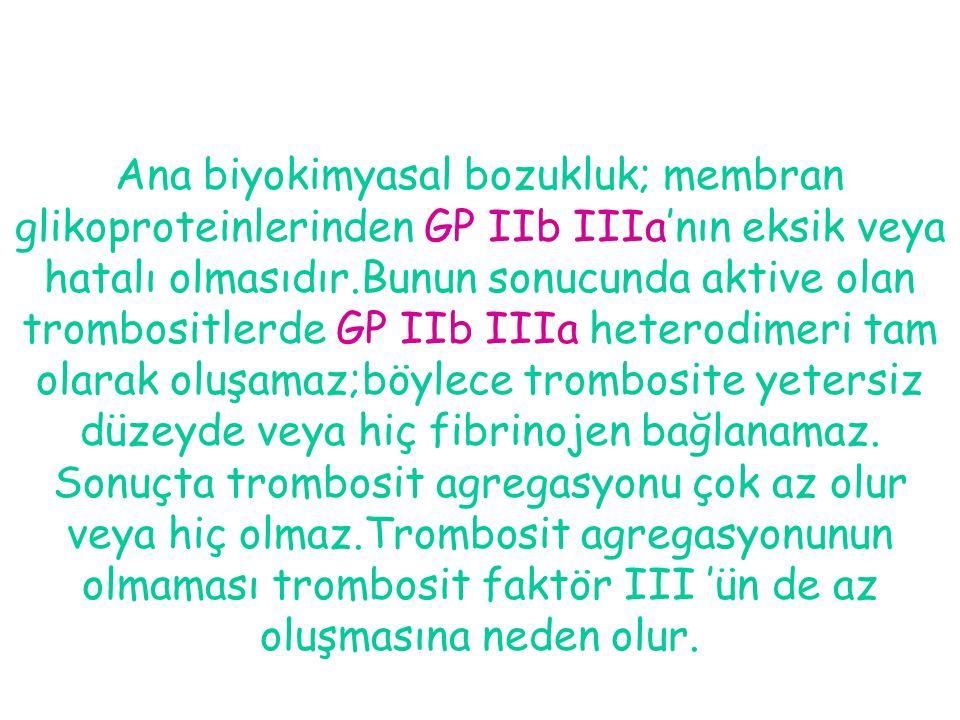 Ana biyokimyasal bozukluk; membran glikoproteinlerinden GP IIb IIIa'nın eksik veya hatalı olmasıdır.Bunun sonucunda aktive olan trombositlerde GP IIb