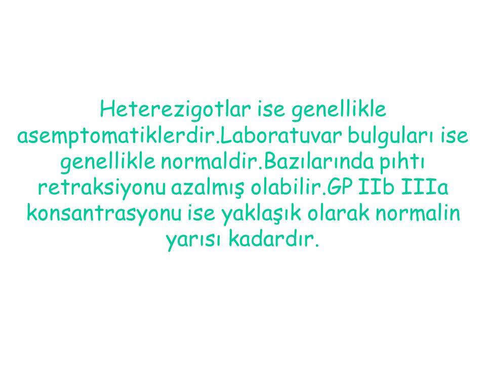 Heterezigotlar ise genellikle asemptomatiklerdir.Laboratuvar bulguları ise genellikle normaldir.Bazılarında pıhtı retraksiyonu azalmış olabilir.GP IIb