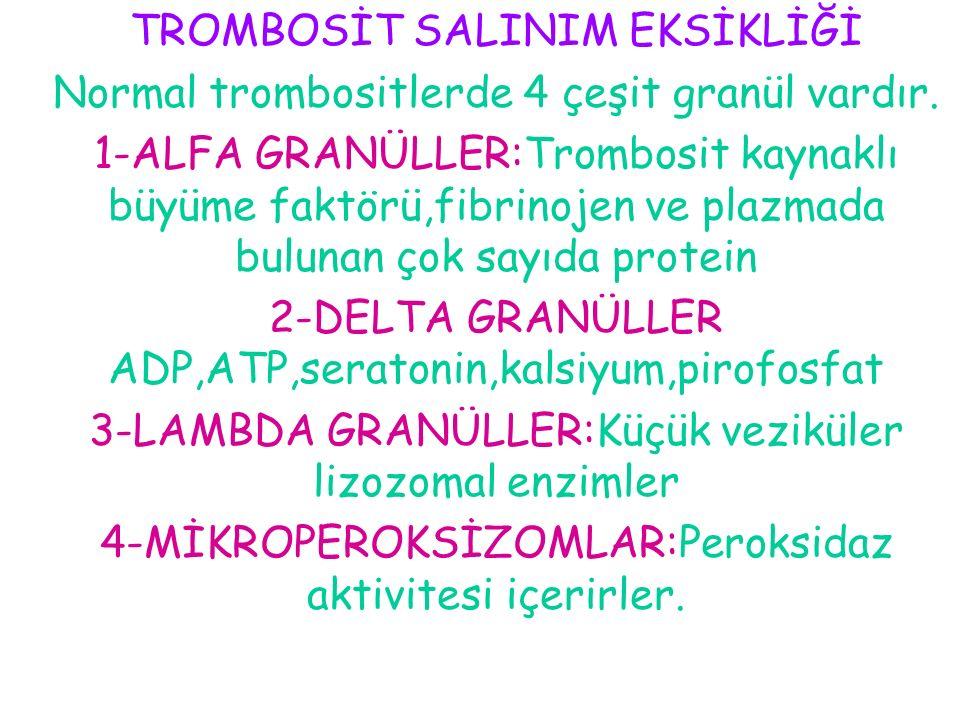 TROMBOSİT SALINIM EKSİKLİĞİ Normal trombositlerde 4 çeşit granül vardır. 1-ALFA GRANÜLLER:Trombosit kaynaklı büyüme faktörü,fibrinojen ve plazmada bul