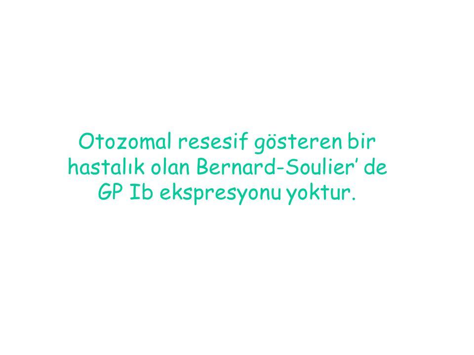 Otozomal resesif gösteren bir hastalık olan Bernard-Soulier' de GP Ib ekspresyonu yoktur.