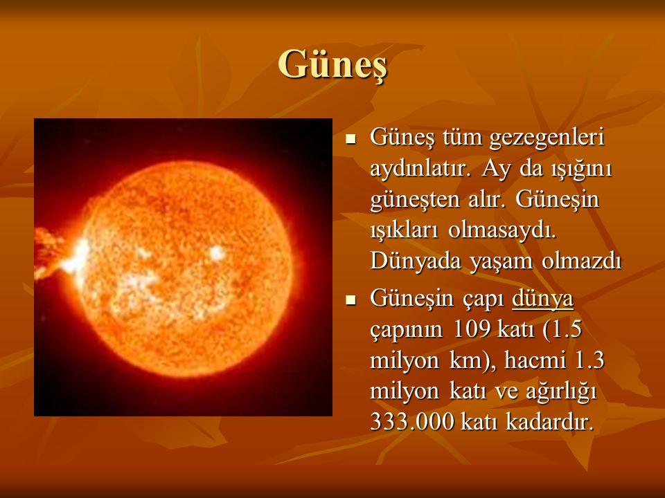 Güneş Güneş tüm gezegenleri aydınlatır. Ay da ışığını güneşten alır. Güneşin ışıkları olmasaydı. Dünyada yaşam olmazdı Güneş tüm gezegenleri aydınlatı