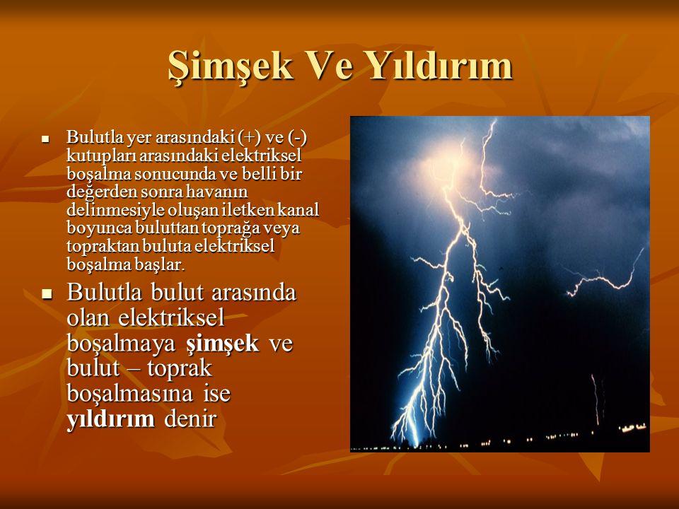Şimşek Ve Yıldırım Bulutla yer arasındaki (+) ve (-) kutupları arasındaki elektriksel boşalma sonucunda ve belli bir değerden sonra havanın delinmesiy