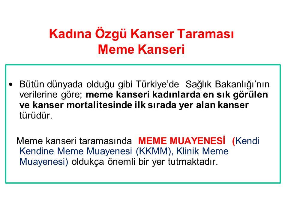 Kadına Özgü Kanser Taraması Meme Kanseri Bütün dünyada olduğu gibi Türkiye'de Sağlık Bakanlığı'nın verilerine göre; meme kanseri kadınlarda en sık gör