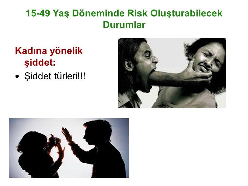 15-49 Yaş Döneminde Risk Oluşturabilecek Durumlar Kadına yönelik şiddet: Şiddet türleri!!!