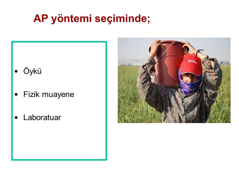 Öykü Fizik muayene Laboratuar AP yöntemi seçiminde;