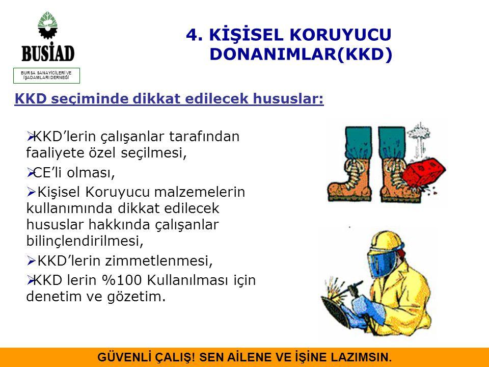 KKD seçiminde dikkat edilecek hususlar:  KKD'lerin çalışanlar tarafından faaliyete özel seçilmesi,  CE'li olması,  Kişisel Koruyucu malzemelerin ku
