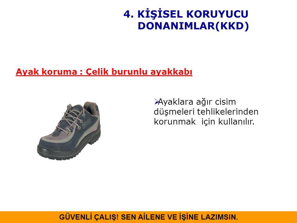 Ayaklara ağır cisim düşmeleri tehlikelerinden korunmak için kullanılır. Ayak koruma : Çelik burunlu ayakkabı GÜVENLİ ÇALIŞ! SEN AİLENE VE İŞİNE LAZI
