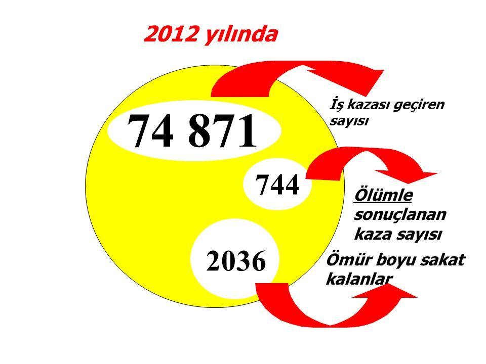 2012 yılında Ölümle sonuçlanan kaza sayısı 744 Ömür boyu sakat kalanlar 2036 İş kazası geçiren sayısı 74 871