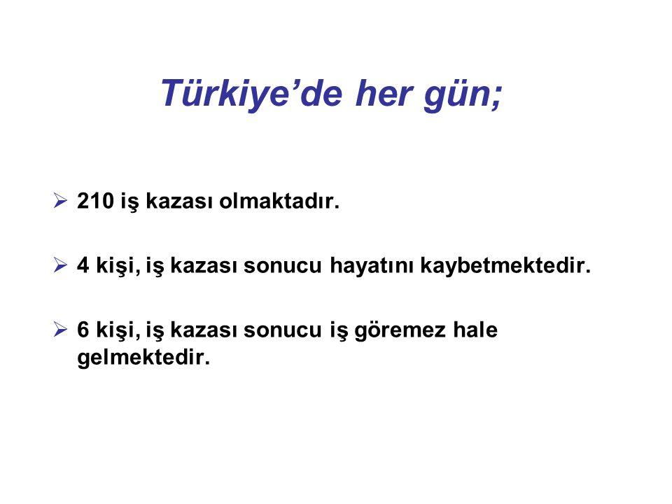 Türkiye'de her gün;  210 iş kazası olmaktadır.  4 kişi, iş kazası sonucu hayatını kaybetmektedir.  6 kişi, iş kazası sonucu iş göremez hale gelmekt