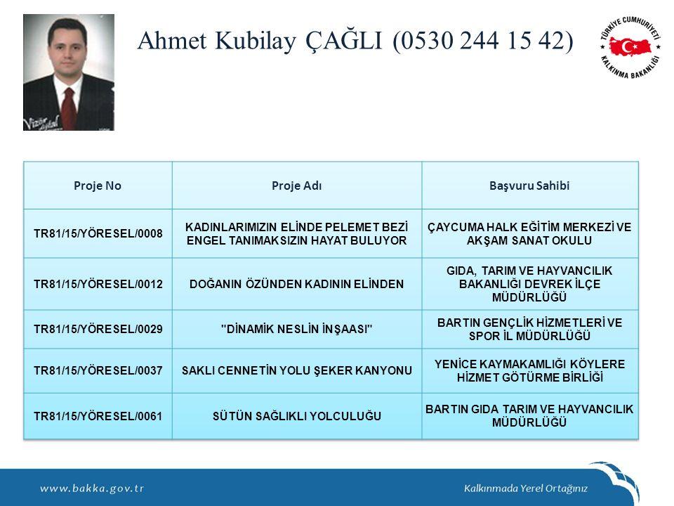 Ahmet Kubilay ÇAĞLI (0530 244 15 42)