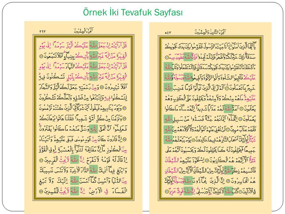 Kur'an'daki Tevafukların Kırmızı Renkle Yazılması Mushafı üç nevi mürekkeble, Allah lafzı kırmızı sâir tevafuklar ba ş ka renkli mürekkeble âyetleri siyah mürekkeble yazdırmak emelindeyim. (Bediüzzaman, Rumuzat-ı Semaniye, 16)