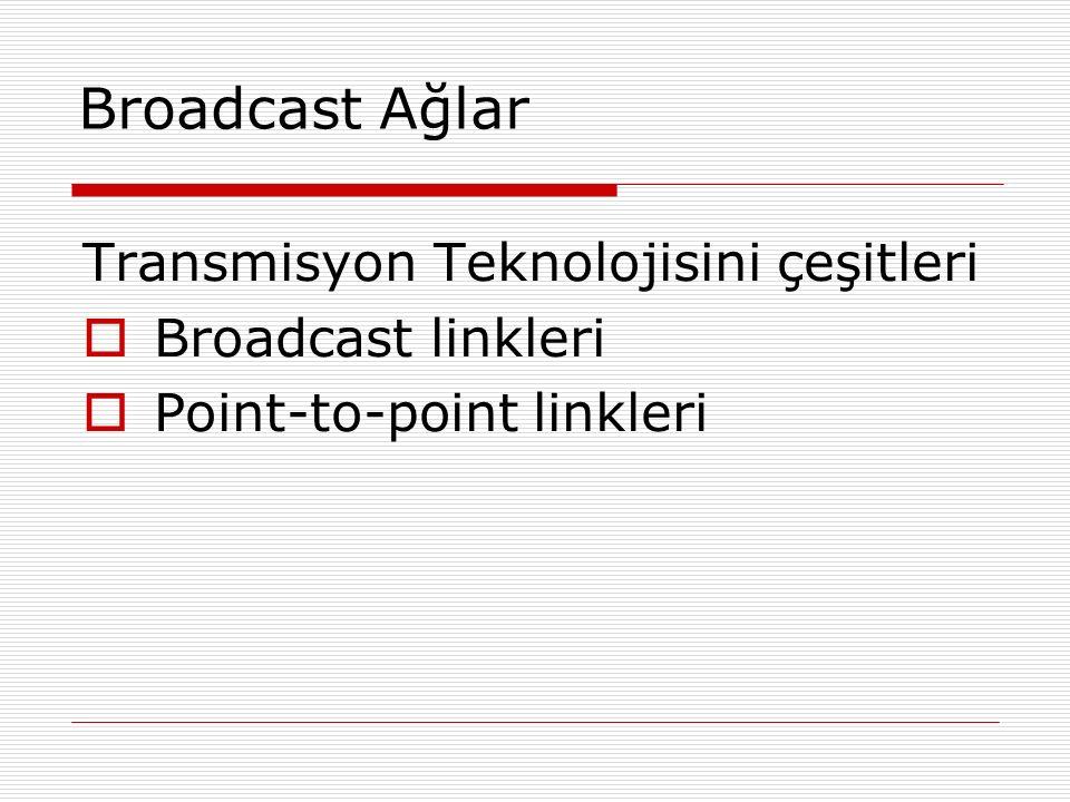 Broadcast Ağlar Transmisyon Teknolojisini çeşitleri  Broadcast linkleri  Point-to-point linkleri