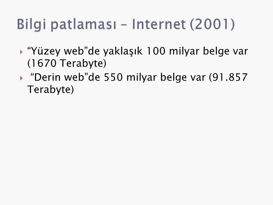  Yüzey web de yaklaşık 100 milyar belge var (1670 Terabyte)  Derin web de 550 milyar belge var (91.857 Terabyte)