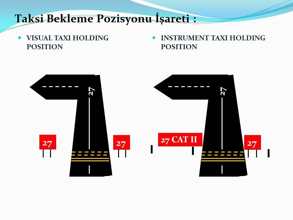 Taksi Bekleme Pozisyonu İşareti : VISUAL TAXI HOLDING POSITION INSTRUMENT TAXI HOLDING POSITION 27 27 CAT II 27