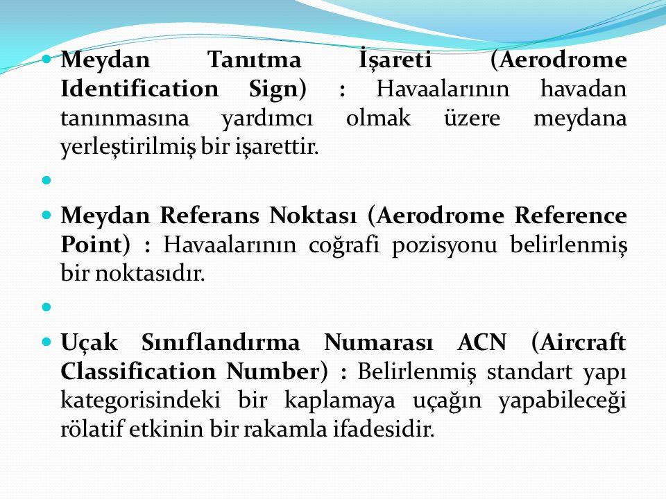 Meydan Tanıtma İşareti (Aerodrome Identification Sign) : Havaalarının havadan tanınmasına yardımcı olmak üzere meydana yerleştirilmiş bir işarettir. M