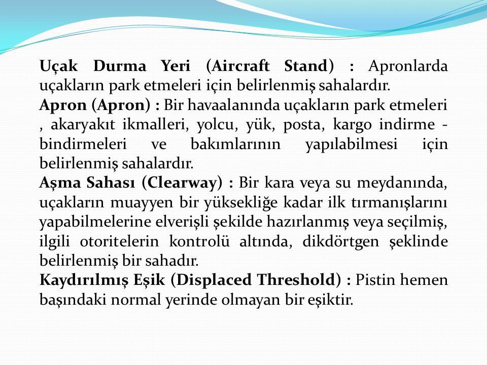 Uçak Durma Yeri (Aircraft Stand) : Apronlarda uçakların park etmeleri için belirlenmiş sahalardır. Apron (Apron) : Bir havaalanında uçakların park etm