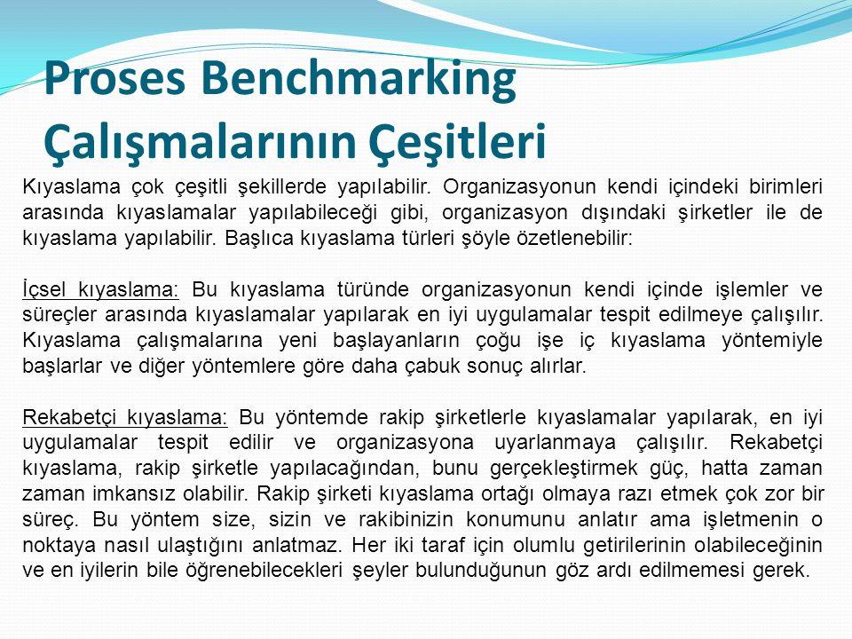 Proses Benchmarking Çalışmalarının Çeşitleri Kıyaslama çok çeşitli şekillerde yapılabilir.