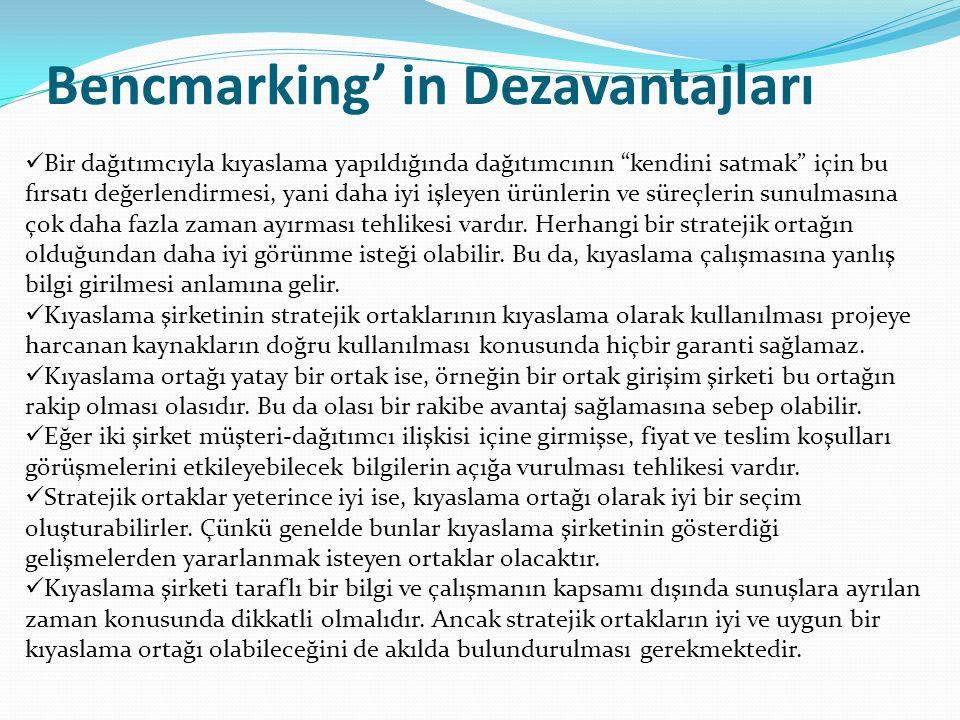 Bencmarking' in Dezavantajları Bir dağıtımcıyla kıyaslama yapıldığında dağıtımcının kendini satmak için bu fırsatı değerlendirmesi, yani daha iyi işleyen ürünlerin ve süreçlerin sunulmasına çok daha fazla zaman ayırması tehlikesi vardır.