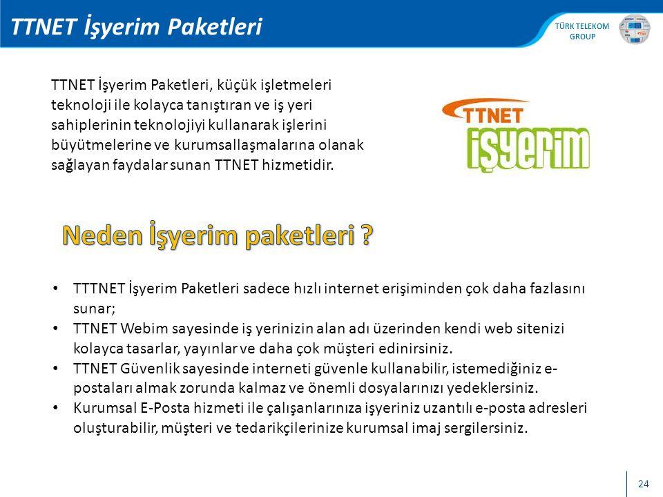 , TÜRK TELEKOM GROUP 25 TTNET İşyerim Paketleri 4 farklı işyerim paketi vardır: Başlangıç Ekonomik Profesyonel Profesyonel Extra