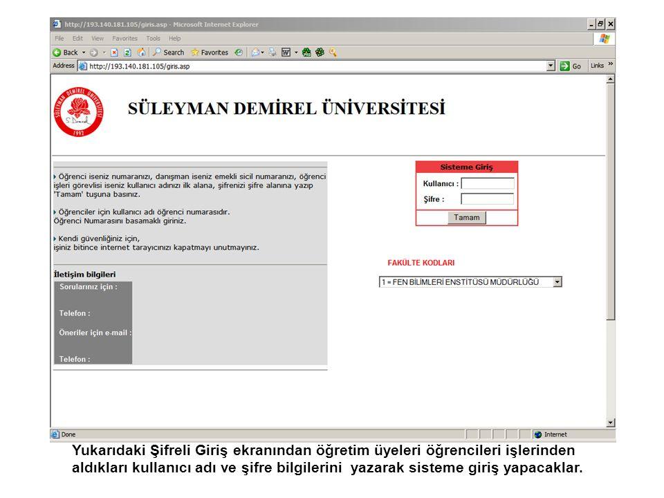 Soldaki Menüden 'İnternetten Kayıtlanma Onayı' nı tıklayarak Danışmanı olduğu bölümlerin listesi veya tek bölümde danışman ise öğrencilerin listesi gelir.