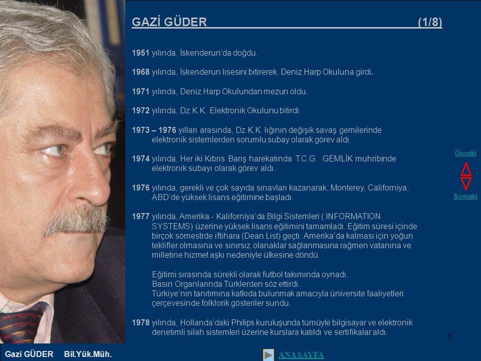1 GAZİ GÜDER (1/8) 1951 yılında, İskenderun'da doğdu.