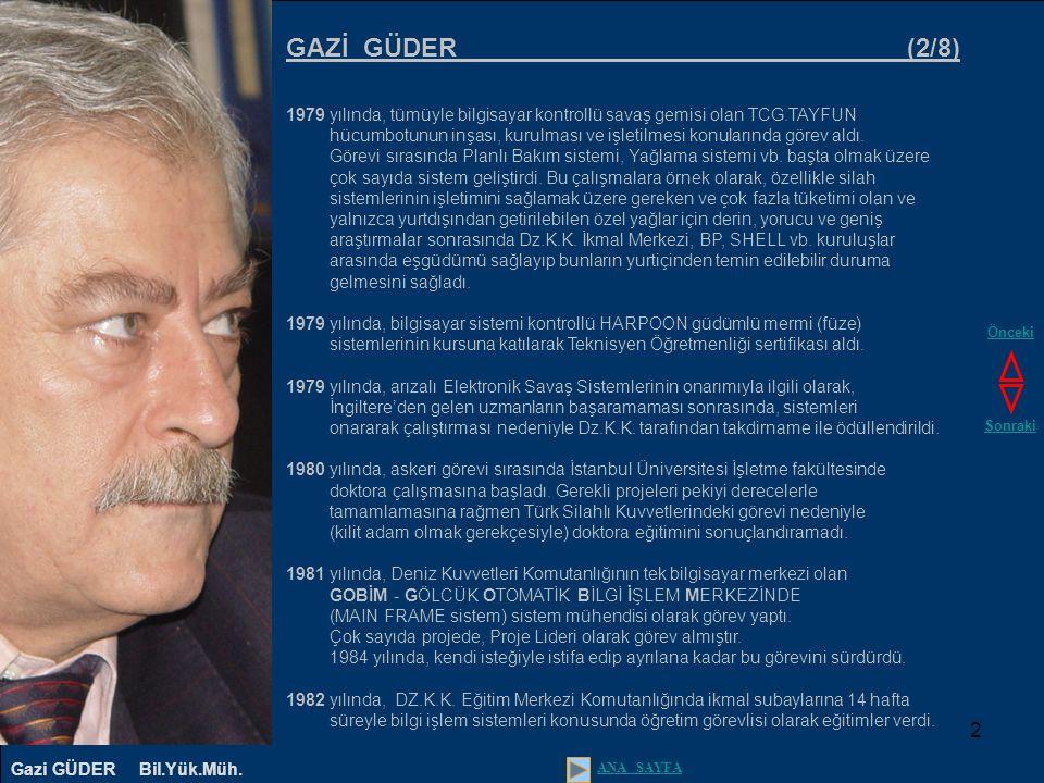 3 GAZİ GÜDER (3/8) 1982 - 1983 yıllarında, Donanma Komutanlığı Askeri mahkemesi yargıçlar heyetinde muharip subay üye (yargıçlardan biri) olarak görev yaptı.