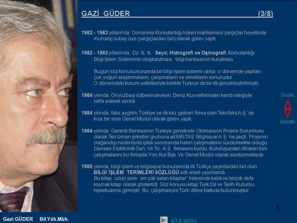 4 GAZİ GÜDER (4/8) 1987 yılında, Türkiye'de ilk kez olmak üzere o dönemde piyasaya yeni sürülen sayısal telefon santraliyle bilgisayar arasında iletişimi ve santralden alınan bilgilerin (içerik hariç) kaydının tutularak kurumların gereksinimine uygun biçimde raporlanmasını sağlayan ÇAKARAS (Çağrı Kayıt Raporlama) Sistemini KİD Kompüter, İletim, Denetim Ltd.