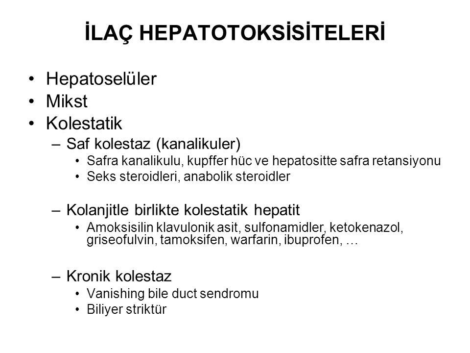 İLAÇ HEPATOTOKSİSİTELERİ Hepatoselüler Mikst Kolestatik –Saf kolestaz (kanalikuler) Safra kanalikulu, kupffer hüc ve hepatositte safra retansiyonu Sek