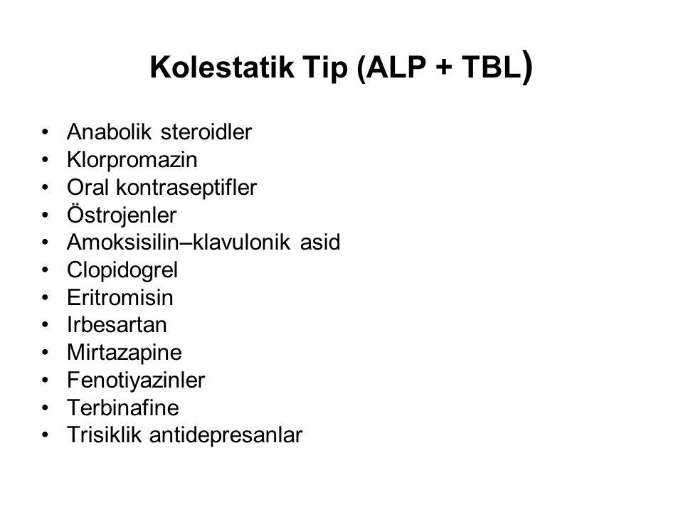 Kolestatik Tip (ALP + TBL ) Anabolik steroidler Klorpromazin Oral kontraseptifler Östrojenler Amoksisilin–klavulonik asid Clopidogrel Eritromisin Irbe
