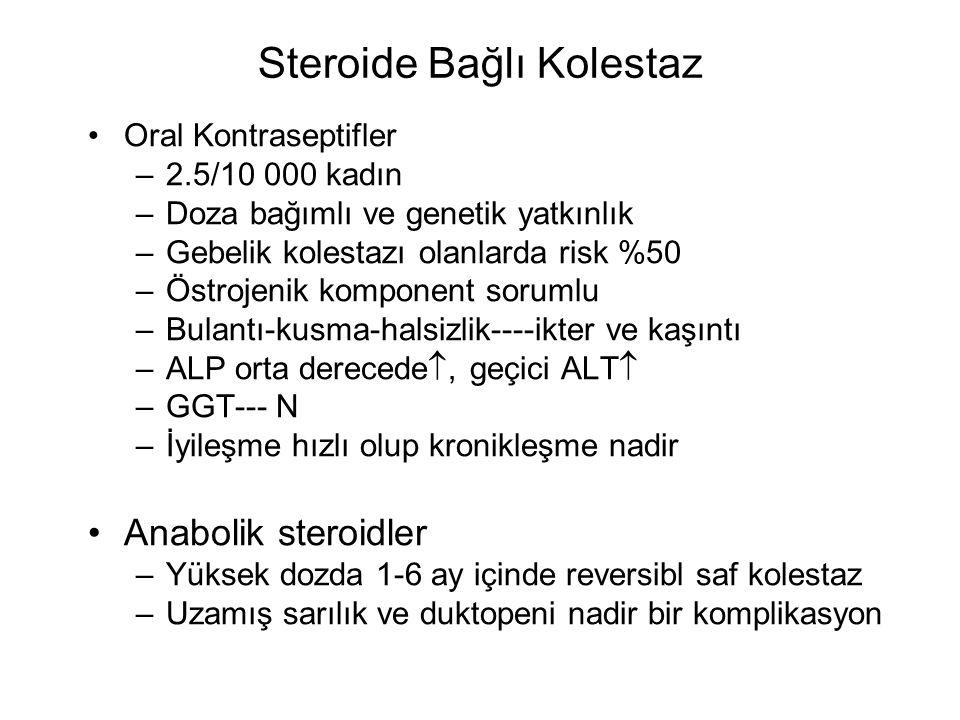 Steroide Bağlı Kolestaz Oral Kontraseptifler –2.5/10 000 kadın –Doza bağımlı ve genetik yatkınlık –Gebelik kolestazı olanlarda risk %50 –Östrojenik ko