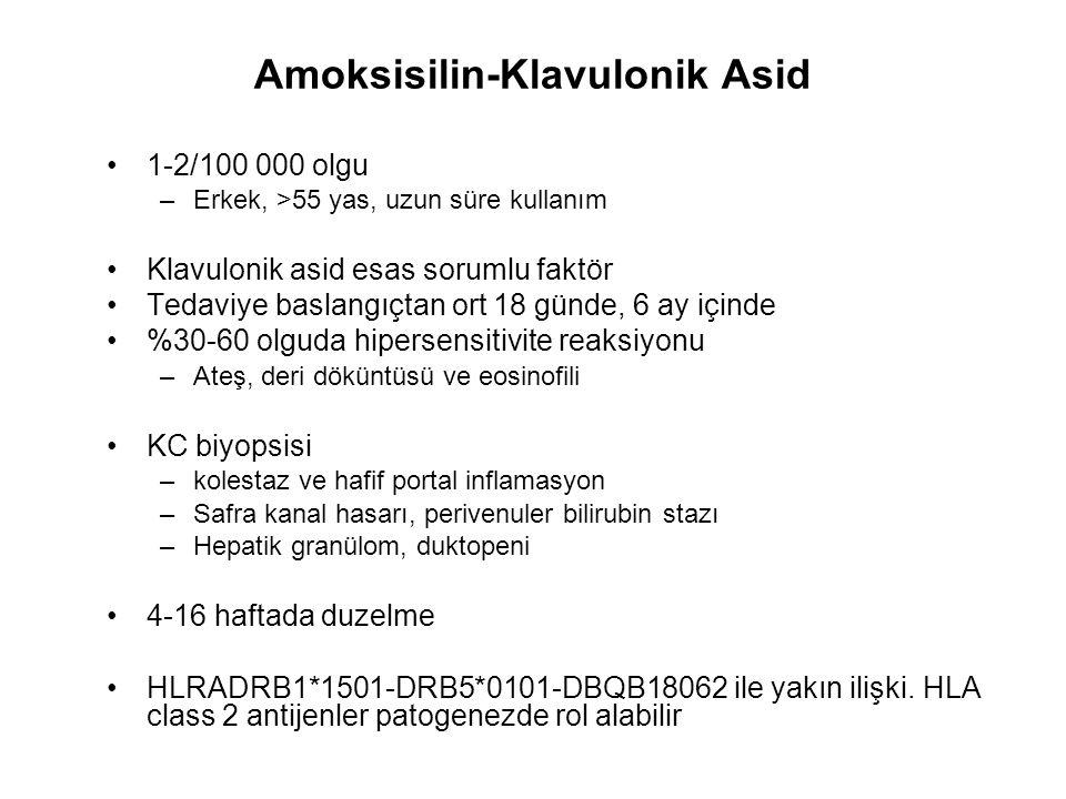 Amoksisilin-Klavulonik Asid 1-2/100 000 olgu –Erkek, >55 yas, uzun süre kullanım Klavulonik asid esas sorumlu faktör Tedaviye baslangıçtan ort 18 günd