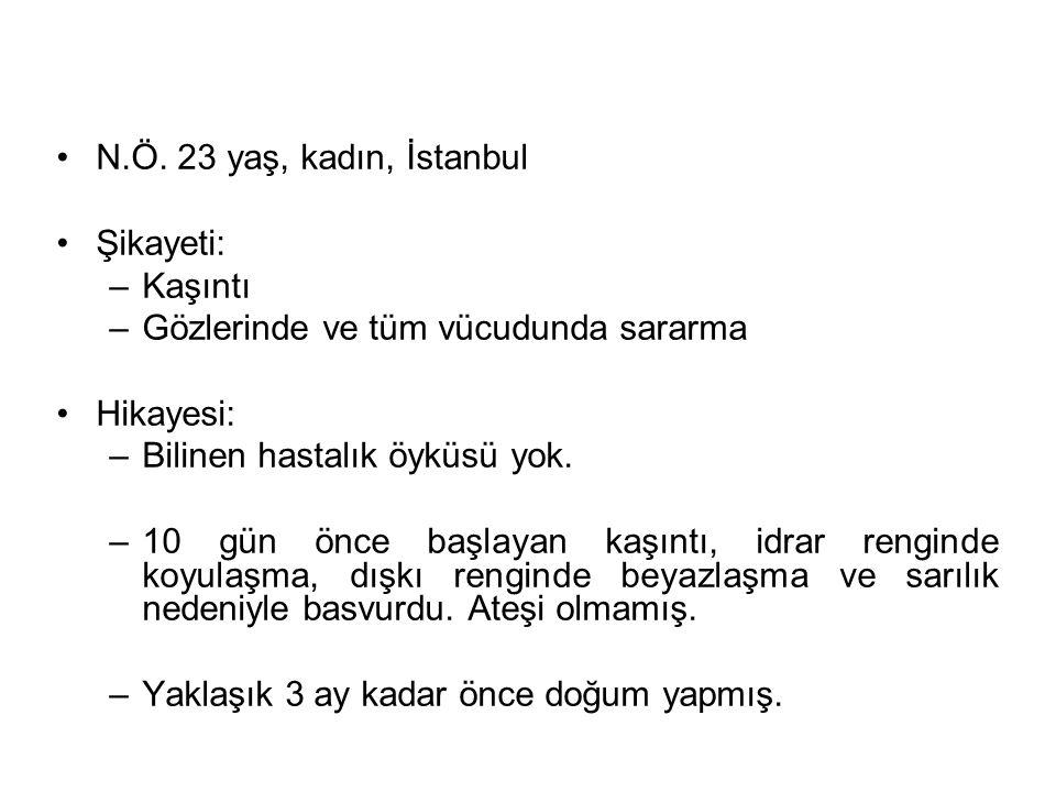 N.Ö. 23 yaş, kadın, İstanbul Şikayeti: –Kaşıntı –Gözlerinde ve tüm vücudunda sararma Hikayesi: –Bilinen hastalık öyküsü yok. –10 gün önce başlayan kaş