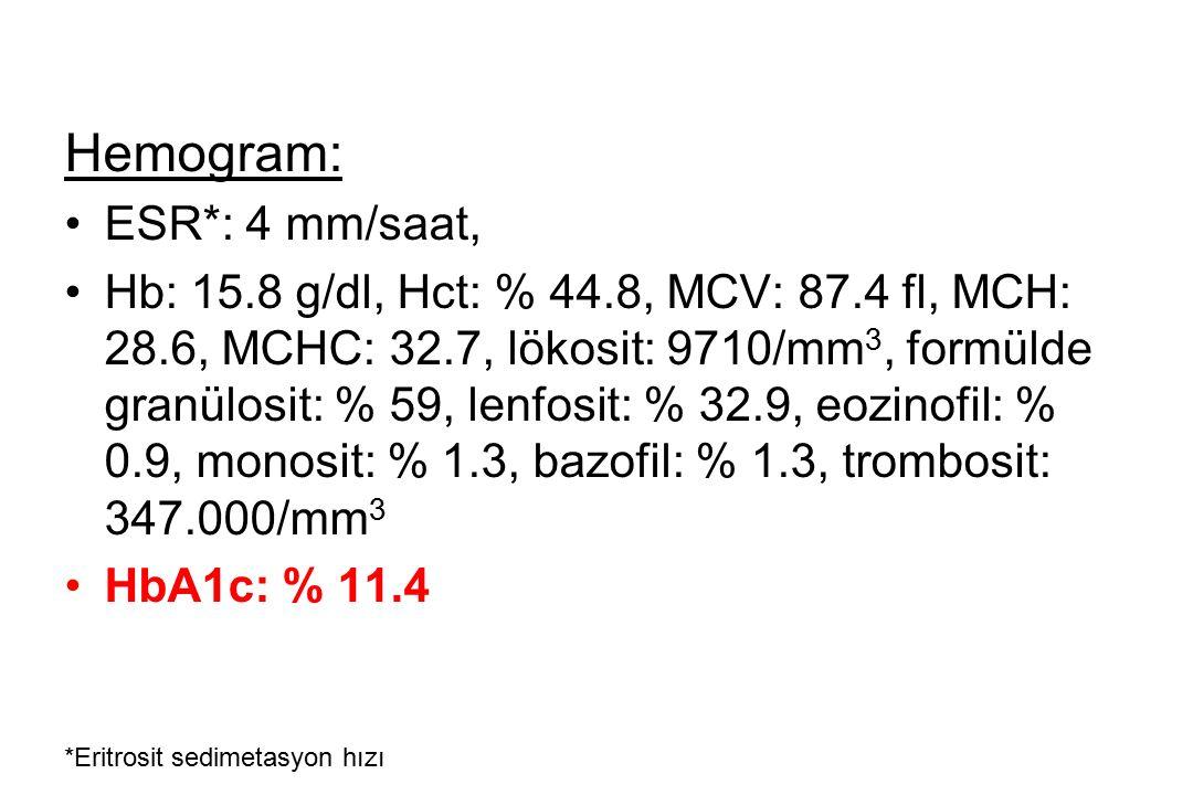 Hemogram: ESR*: 4 mm/saat, Hb: 15.8 g/dl, Hct: % 44.8, MCV: 87.4 fl, MCH: 28.6, MCHC: 32.7, lökosit: 9710/mm 3, formülde granülosit: % 59, lenfosit: %