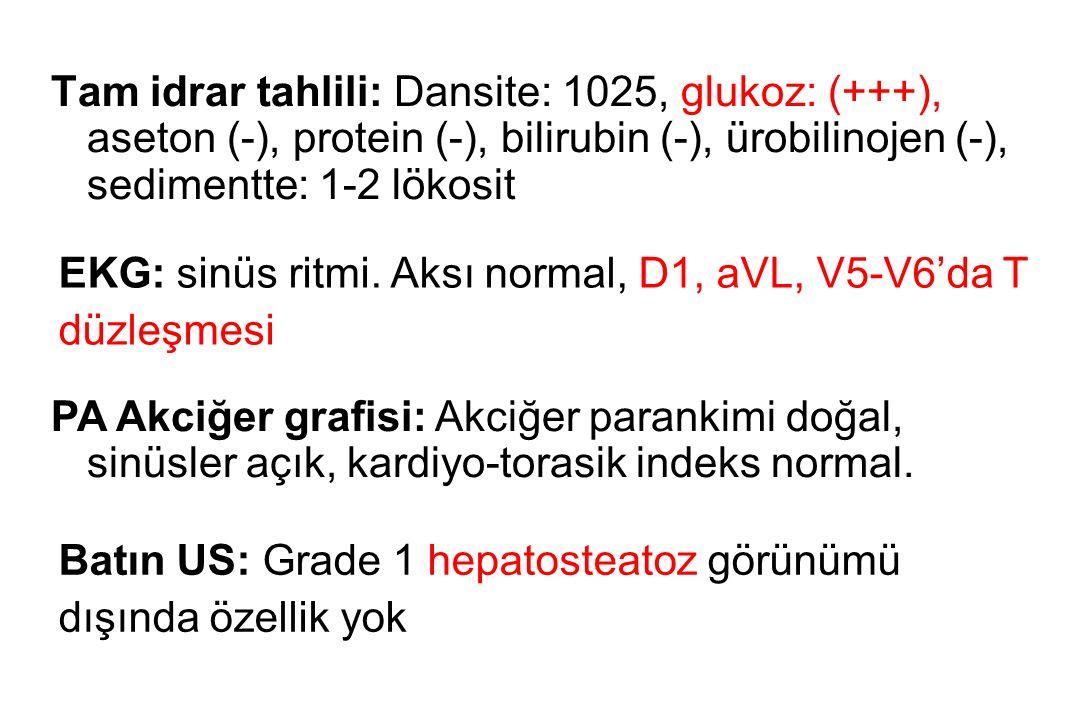 Tam idrar tahlili: Dansite: 1025, glukoz: (+++), aseton (-), protein (-), bilirubin (-), ürobilinojen (-), sedimentte: 1-2 lökosit EKG: sinüs ritmi. A