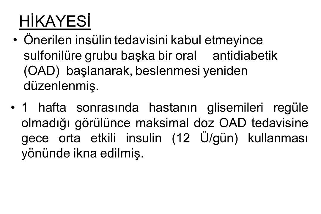 HİKAYESİ Önerilen insülin tedavisini kabul etmeyince sulfonilüre grubu başka bir oral antidiabetik (OAD) başlanarak, beslenmesi yeniden düzenlenmiş. 1