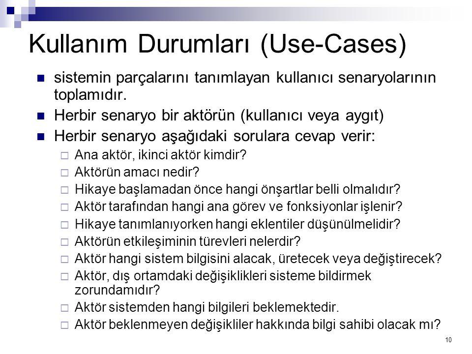 10 Kullanım Durumları (Use-Cases) sistemin parçalarını tanımlayan kullanıcı senaryolarının toplamıdır.