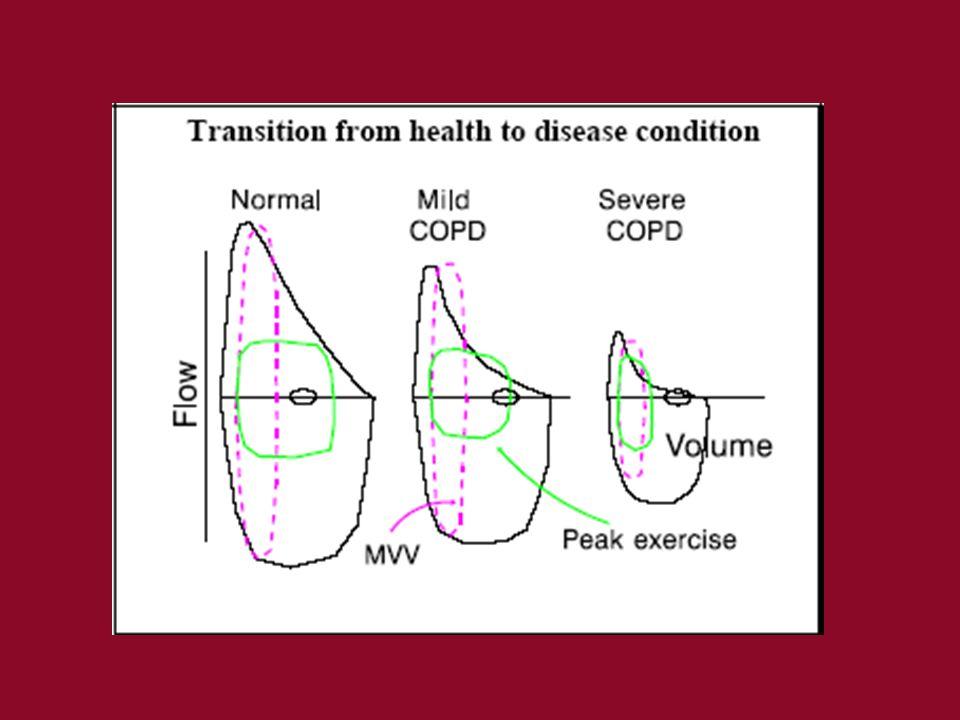 Bazı KOAH hastalarında –Egzersiz sırasındaki ekspiratuvar akım hızı istirahatteki akım hızını geçer –Hafif, orta, ileri olgularda Torasik gaz kompresyonu Havayolu kompresyonu (derin inspr.) Akciğerlerden eşit dağılım göstermeyen hava atılımı KOAH