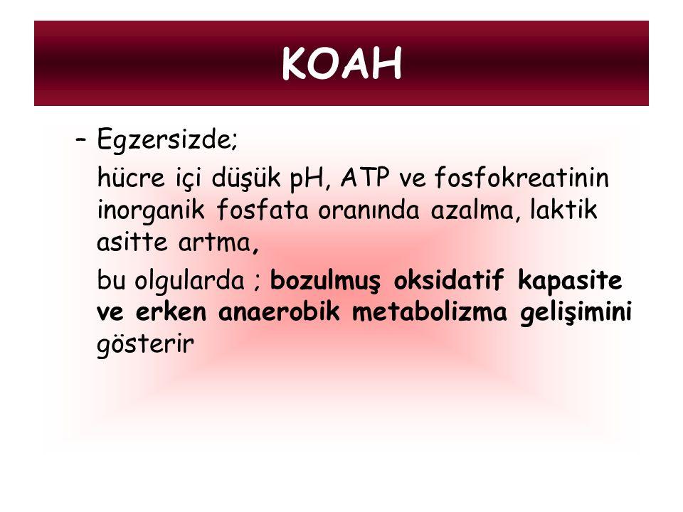 –Egzersizde; hücre içi düşük pH, ATP ve fosfokreatinin inorganik fosfata oranında azalma, laktik asitte artma, bu olgularda ; bozulmuş oksidatif kapas