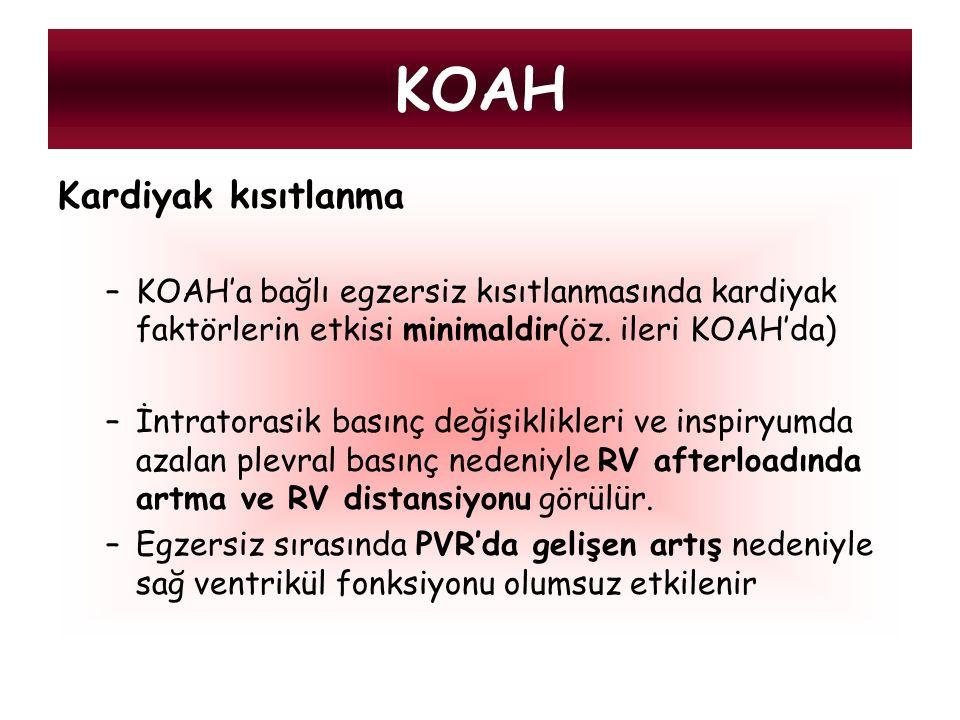 Kardiyak kısıtlanma –KOAH'a bağlı egzersiz kısıtlanmasında kardiyak faktörlerin etkisi minimaldir(öz. ileri KOAH'da) –İntratorasik basınç değişiklikle