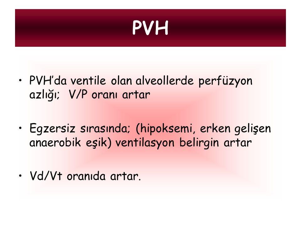 PVH'da ventile olan alveollerde perfüzyon azlığı; V/P oranı artar Egzersiz sırasında; (hipoksemi, erken gelişen anaerobik eşik) ventilasyon belirgin a