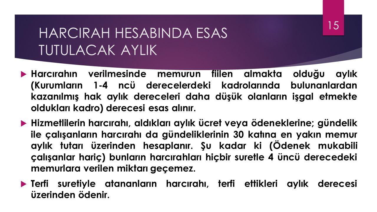 HARCIRAH HESABINDA ESAS TUTULACAK AYLIK  Harcırahın verilmesinde memurun fiilen almakta olduğu aylık (Kurumların 1-4 ncü derecelerdeki kadrolarında b