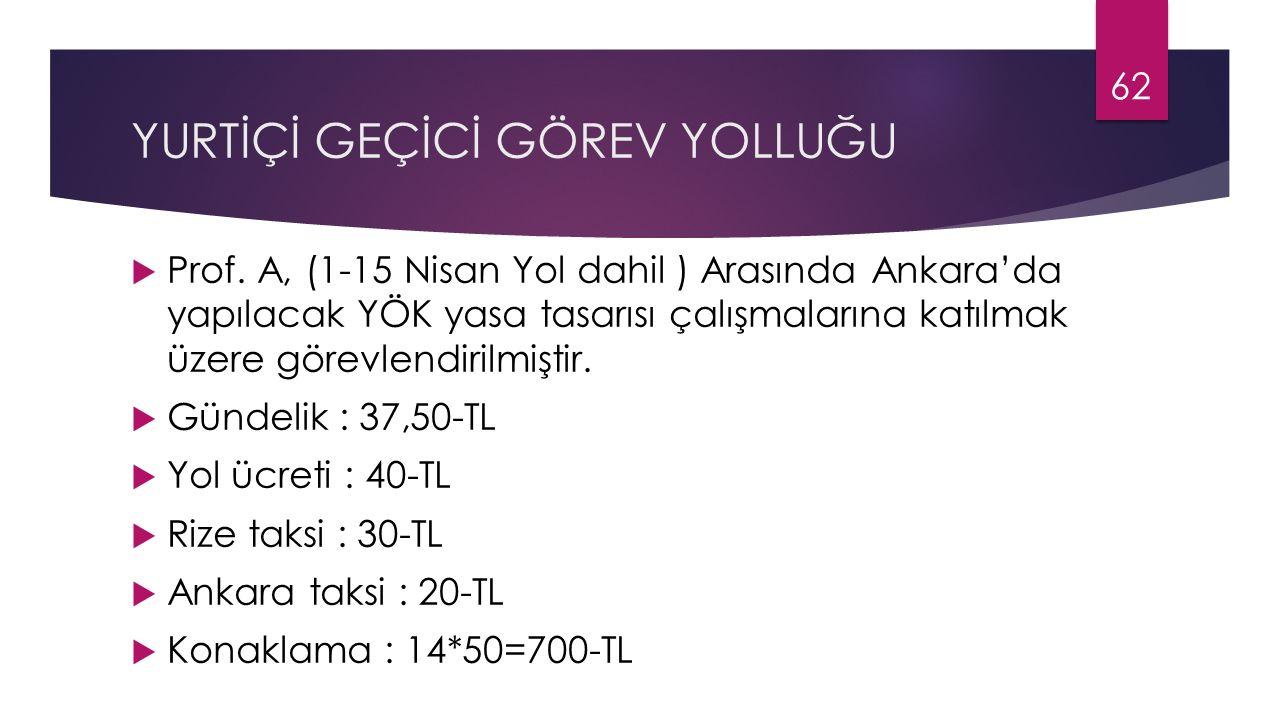 YURTİÇİ GEÇİCİ GÖREV YOLLUĞU  Prof. A, (1-15 Nisan Yol dahil ) Arasında Ankara'da yapılacak YÖK yasa tasarısı çalışmalarına katılmak üzere görevlendi