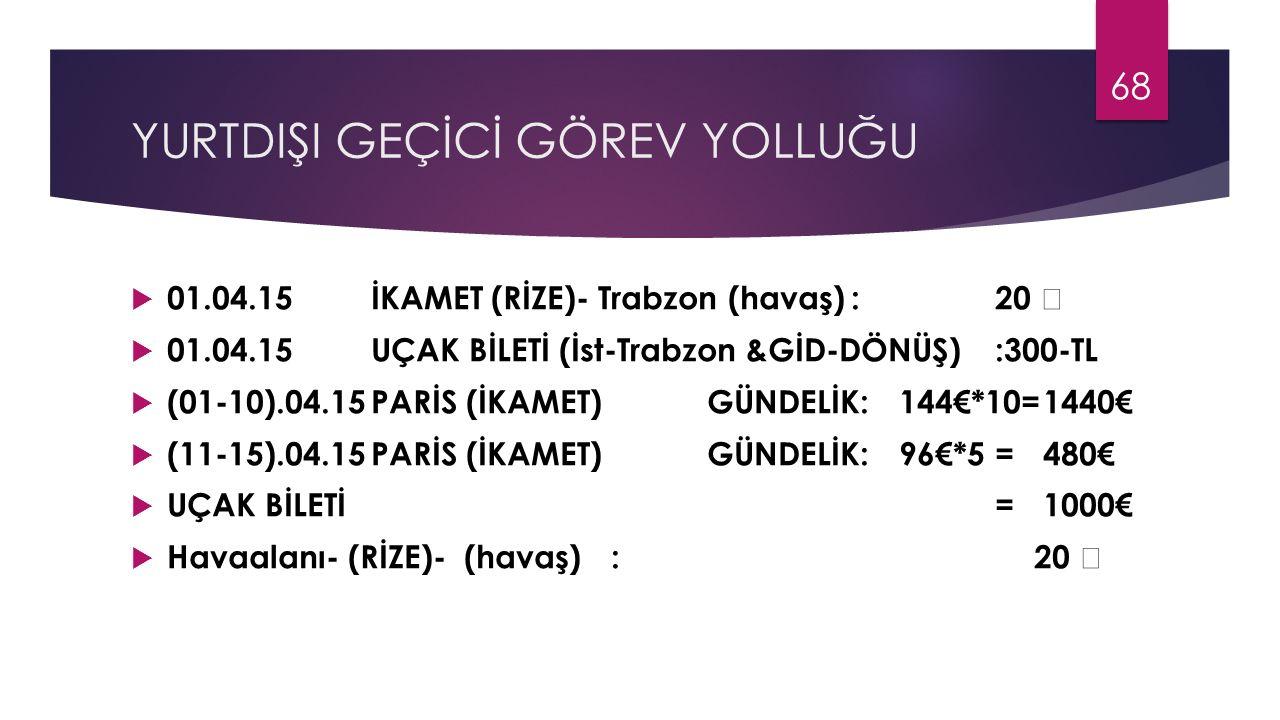 YURTDIŞI GEÇİCİ GÖREV YOLLUĞU  01.04.15İKAMET (RİZE)- Trabzon (havaş):20  01.04.15UÇAK BİLETİ (İst-Trabzon &GİD-DÖNÜŞ) :300-TL  (01-10).04.15PARİS