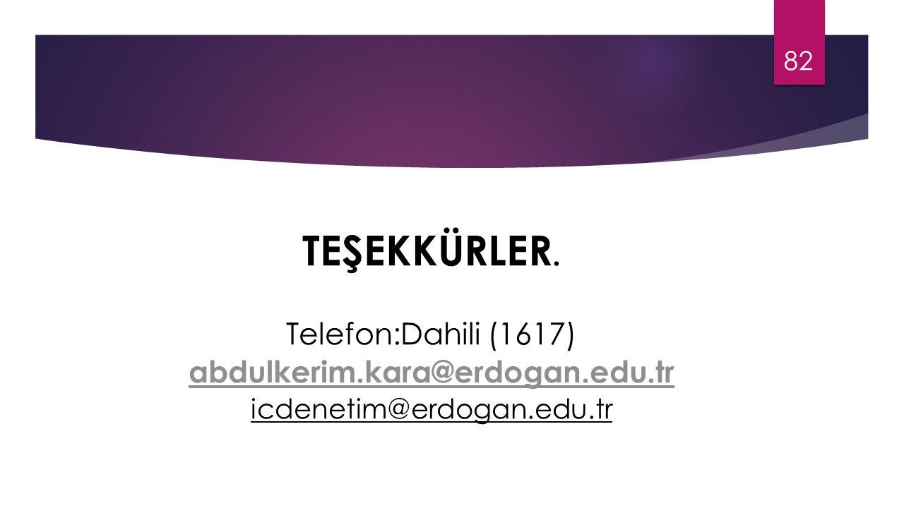 TEŞEKKÜRLER. Telefon:Dahili (1617) abdulkerim.kara@erdogan.edu.tr icdenetim@erdogan.edu.tr 82
