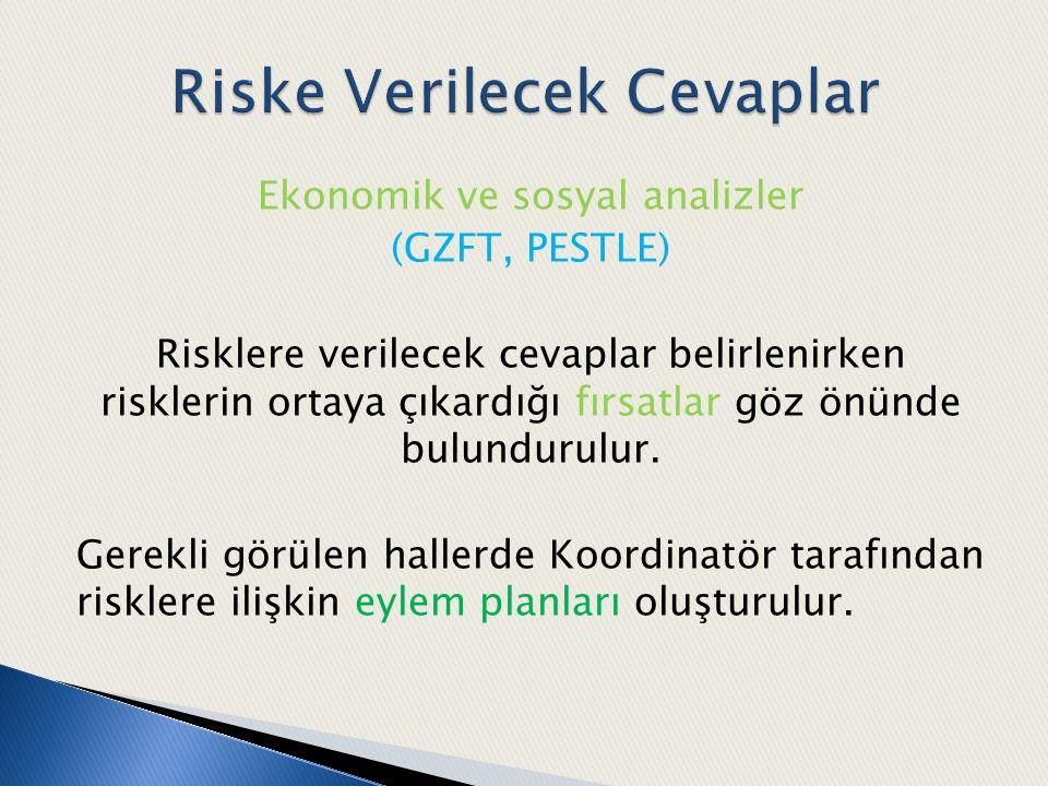 Ekonomik ve sosyal analizler (GZFT, PESTLE) Risklere verilecek cevaplar belirlenirken risklerin ortaya çıkardığı fırsatlar göz önünde bulundurulur. Ge