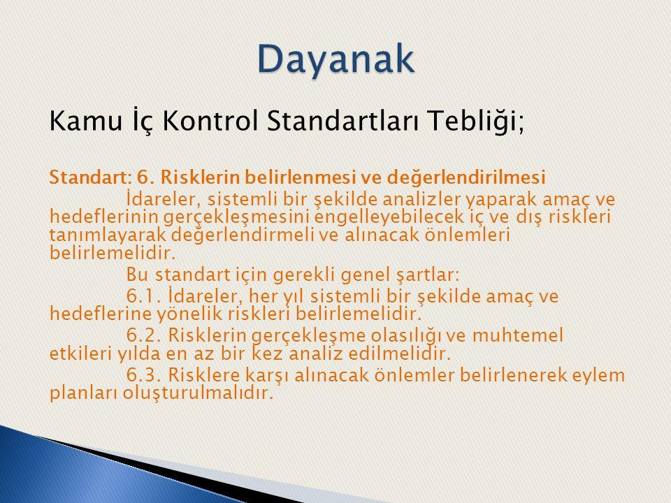 Kamu İç Kontrol Standartları Tebliği; Standart: 6. Risklerin belirlenmesi ve değerlendirilmesi İdareler, sistemli bir şekilde analizler yaparak amaç v